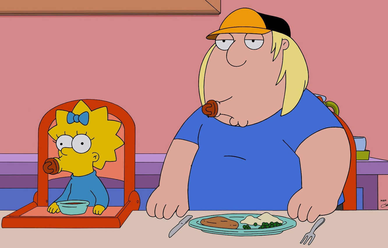 Photo wallpaper The simpsons, Family guy, Family Guy, The Simpsons, Maggie Simpson, Maggie Simpson, Chris Griffin, Chris …