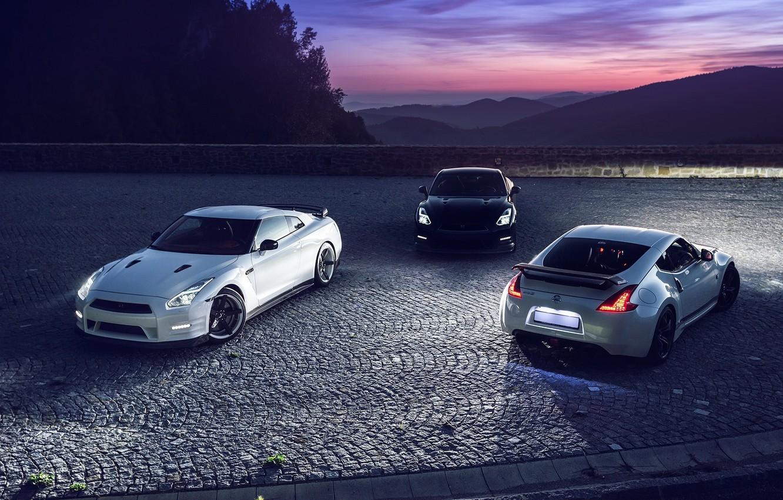 Photo wallpaper GTR, Moon, Nissan, Sky, Front, Black, Mountain, Lights, White, R35, 370Z, Rear, Nigth