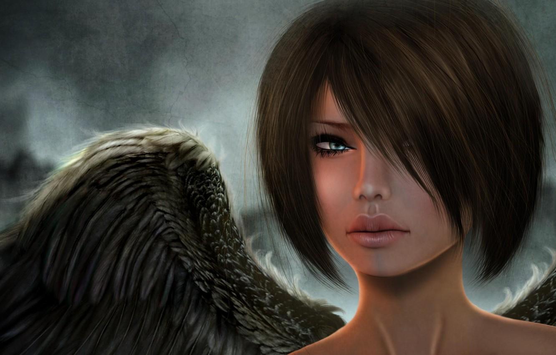 Photo wallpaper look, girl, face, rendering, wings, angel