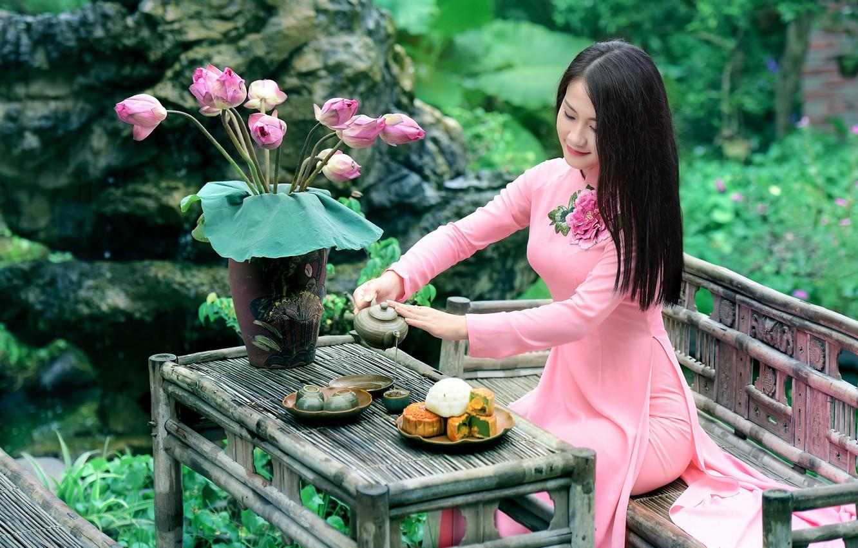 Photo wallpaper girl, flowers, smile, tea, dress, sitting, table