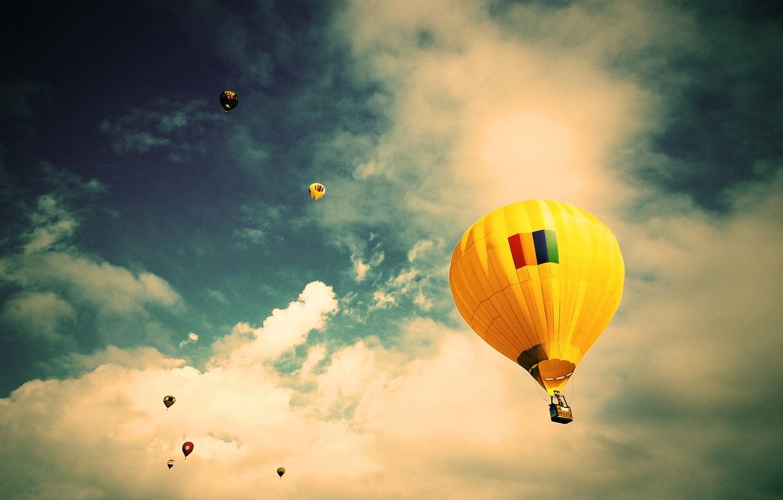 Photo wallpaper the sky, clouds, flight, balloon, Brazil, Sao Paulo, extreme sports, Jacareí