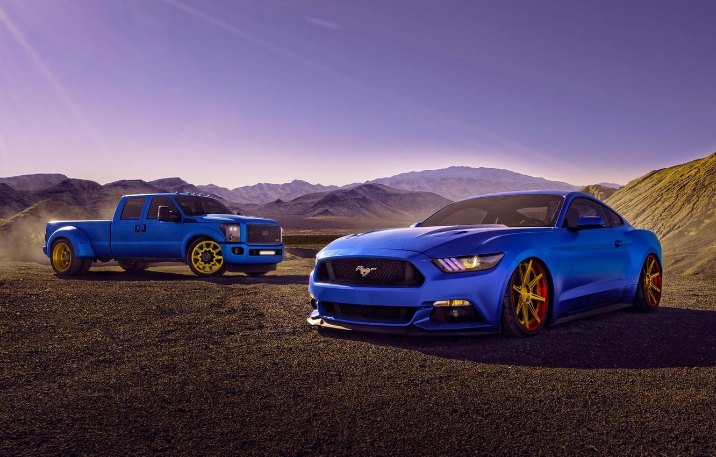 Photo wallpaper Mustang, Ford, Cars, Blue, Eragon, F150, 2015