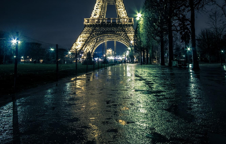 Photo wallpaper night, lights, France, Paris, lights, puddles, Eiffel tower