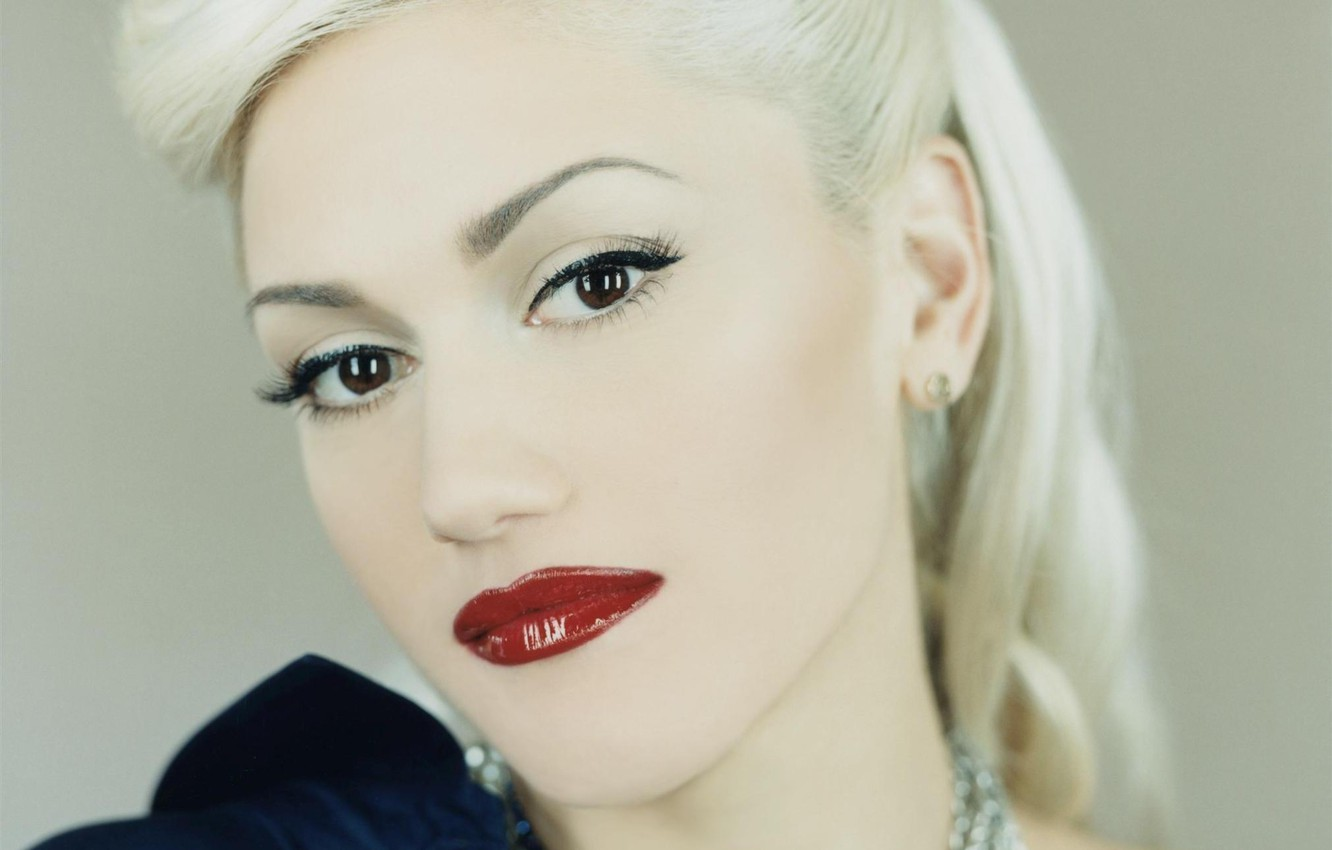 Photo wallpaper look, decoration, face, hair, makeup, hairstyle, blonde, red lips, Gwen Stefani