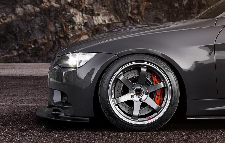 Photo wallpaper BMW, BMW, disk, black, 335i, caliper, bus, E90, 3 Series
