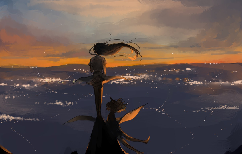 Photo wallpaper the sky, girl, the wind, hair, anime, art
