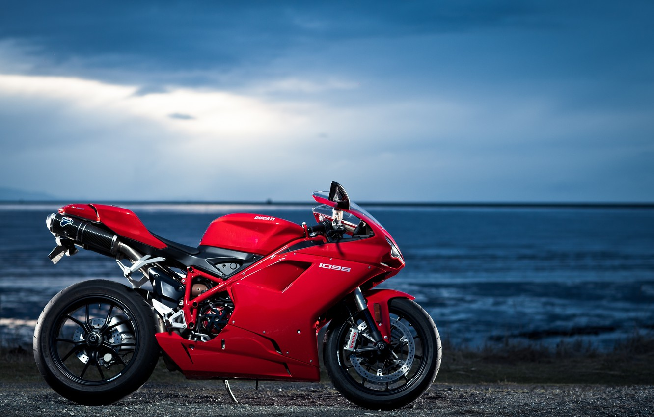 Photo wallpaper the sky, red, clouds, the ocean, profile, red, ducati, Ducati, 1098