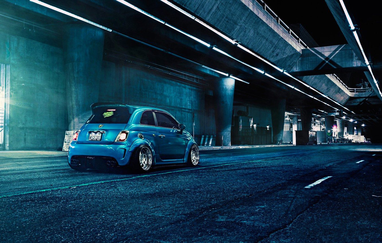 Photo wallpaper Blue, 500, Matte, Fiat, Abarth, Rear, Brushed, F132