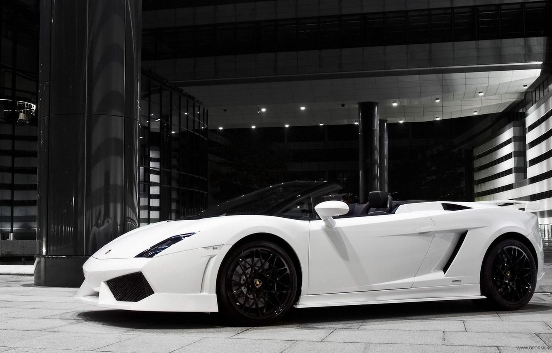 Photo wallpaper speed, Lamborghini, Machine, zwei white
