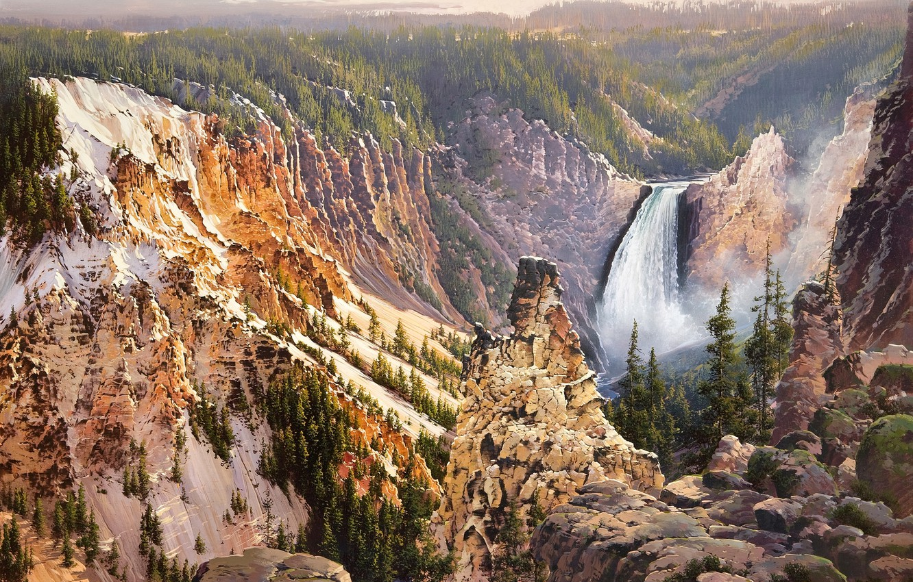 Photo wallpaper nature, mountain, waterfall, painting, Bruce Cheever, Power And Grace Lower Falls Of The Yellowstone, yellow …