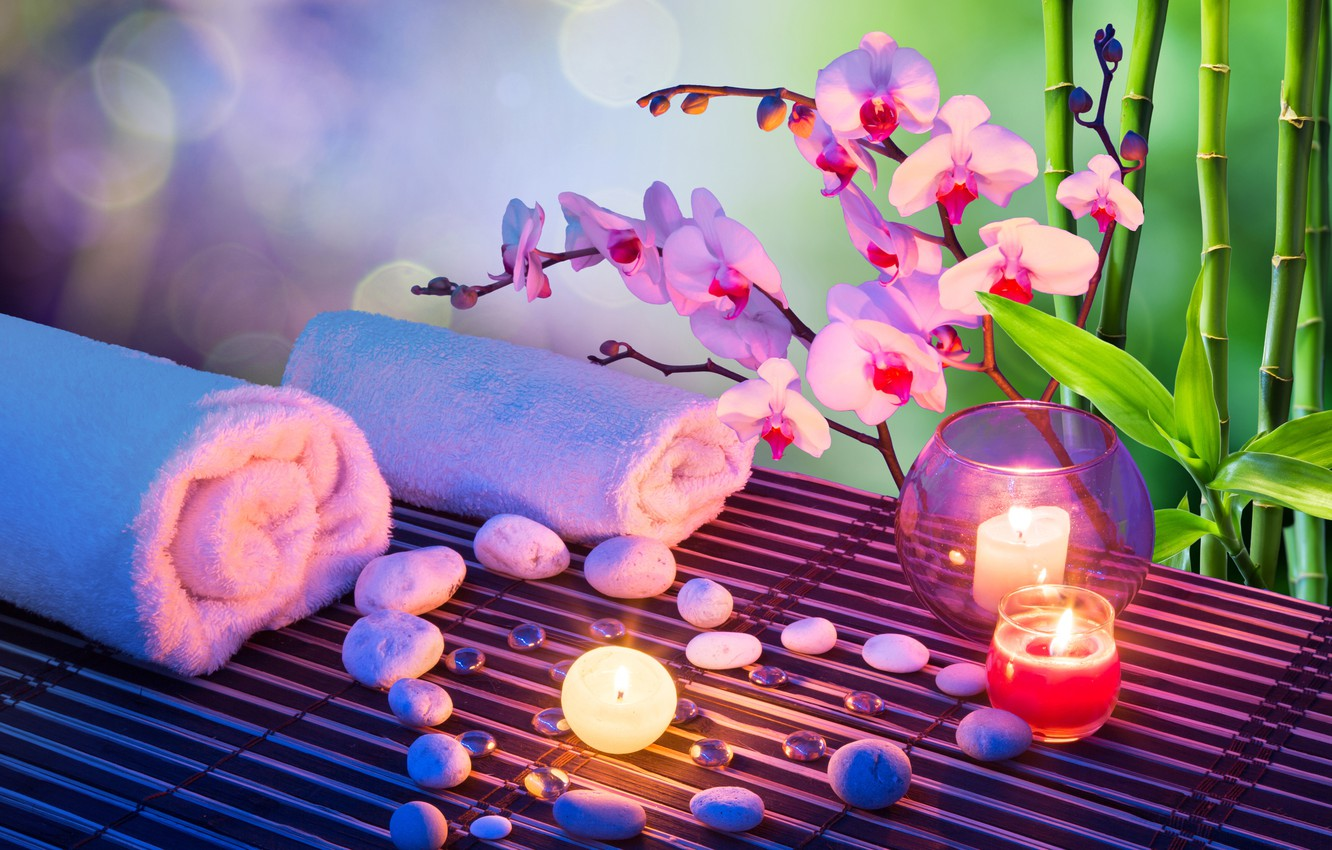 Photo wallpaper flower, stones, candle, towel, bamboo, Orchid, Spa