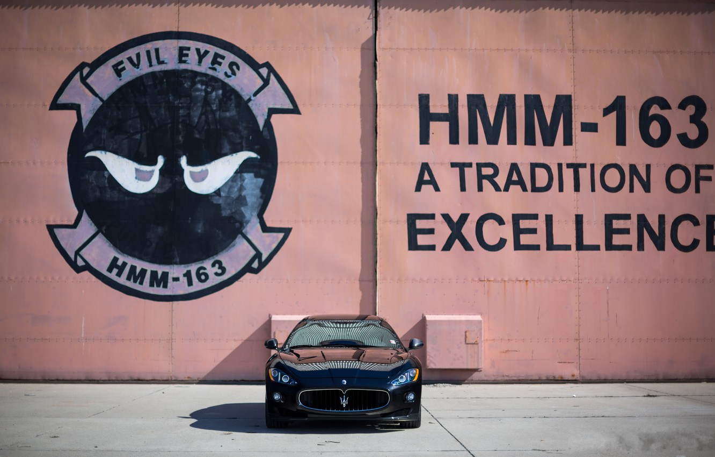 Photo wallpaper wall, black, the inscription, Maserati, shadow, black, Maserati, the front, MC Road, Granturismo, GranTurismo, bitonic …