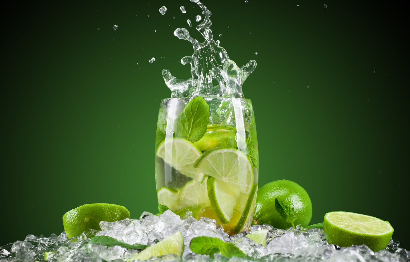 Photo wallpaper ice, squirt, green, background, glass, cocktail, lime, citrus, fruit, Mojito