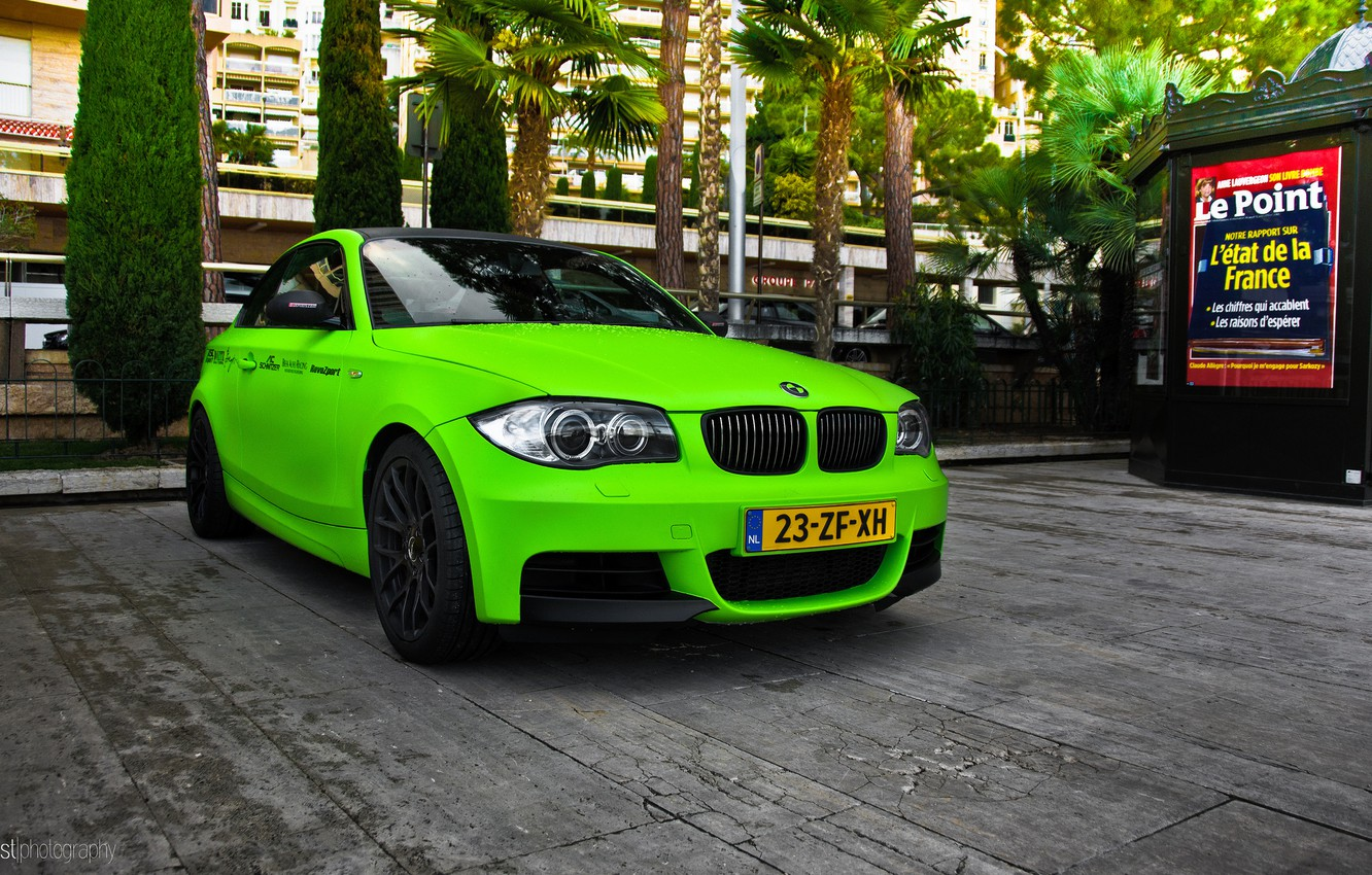 Photo wallpaper green, BMW, Coupe, 1 series