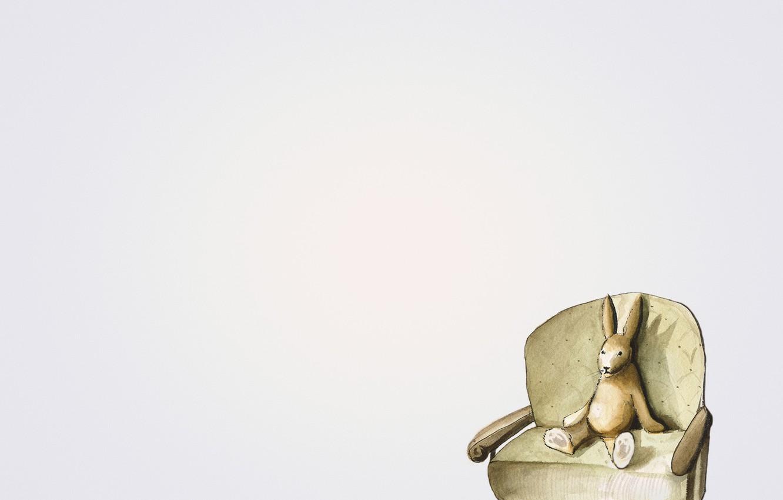 Photo wallpaper sofa, hare, minimalism, rabbit, sitting, light background, rabbit