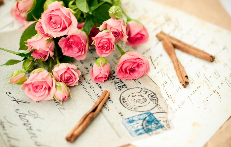 Photo wallpaper flower, letter, love, flowers, memories, pink, romance, roses, bouquet, love, rose, photography, pink, romantic, beauty, …