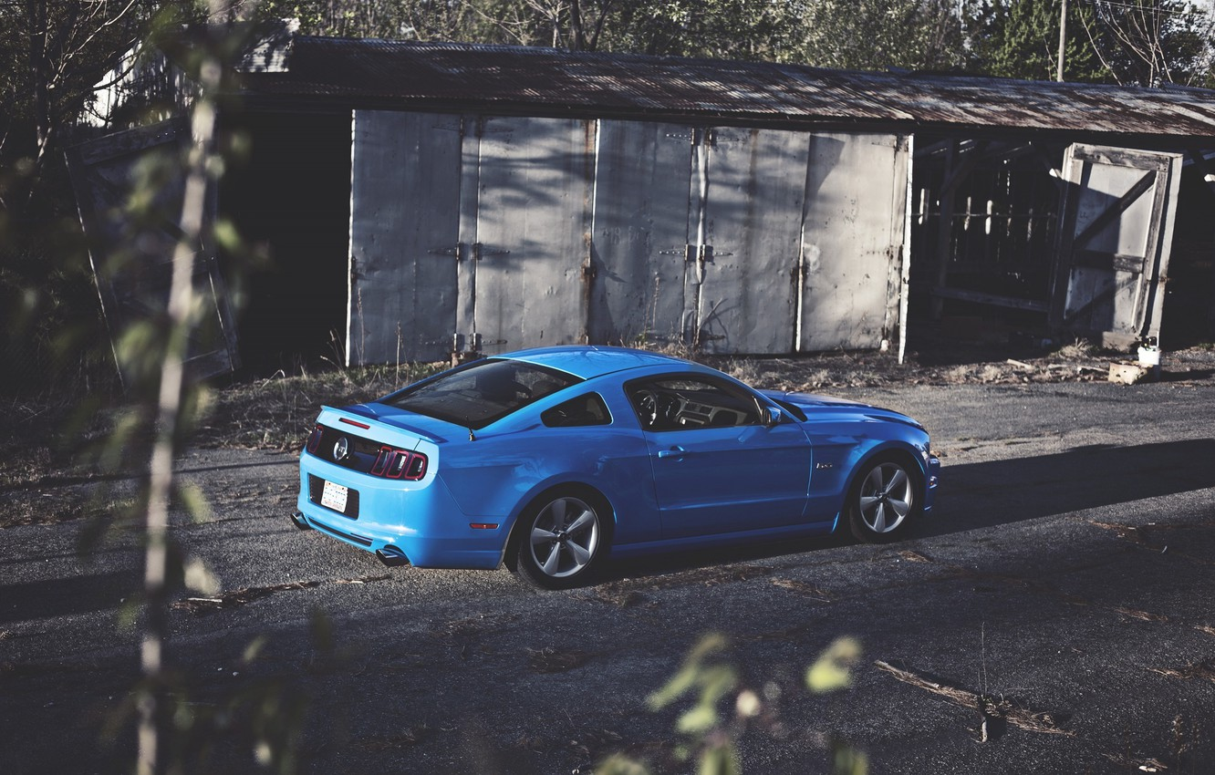 Photo wallpaper Mustang, Ford, Blue, Ass, Ford, Muscle, Mustang, Car, Blue, 5.0
