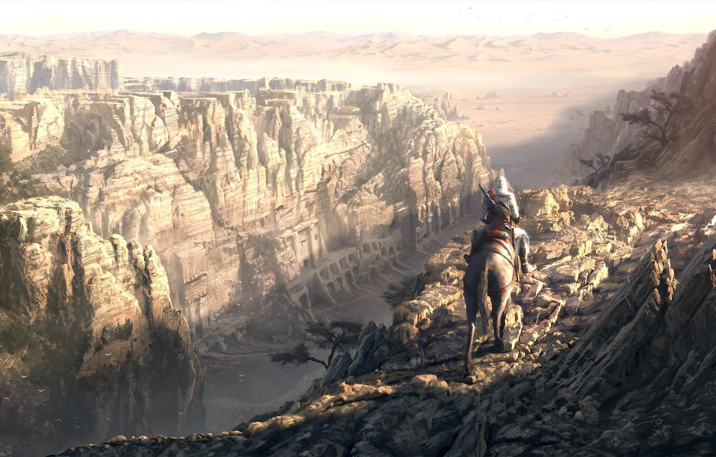 Photo wallpaper horse, gorge, assassins creed