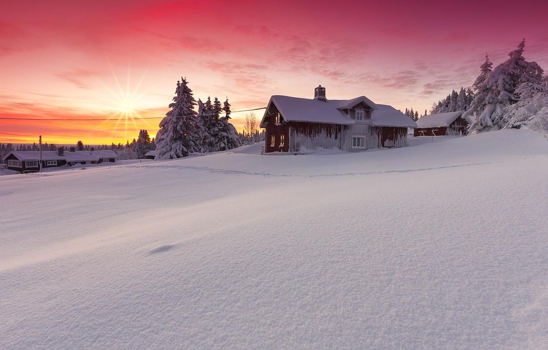 Photo wallpaper winter, the sun, snow, landscape, nature, house, dawn, beauty, Norway, Lillehammer