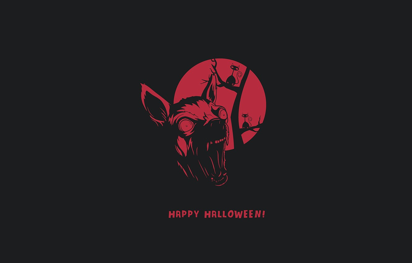 Photo wallpaper wolf, monster, minimalism, monster, minimalism, wolf, Happy Halloween, happy halloween, evil cat, angry cat