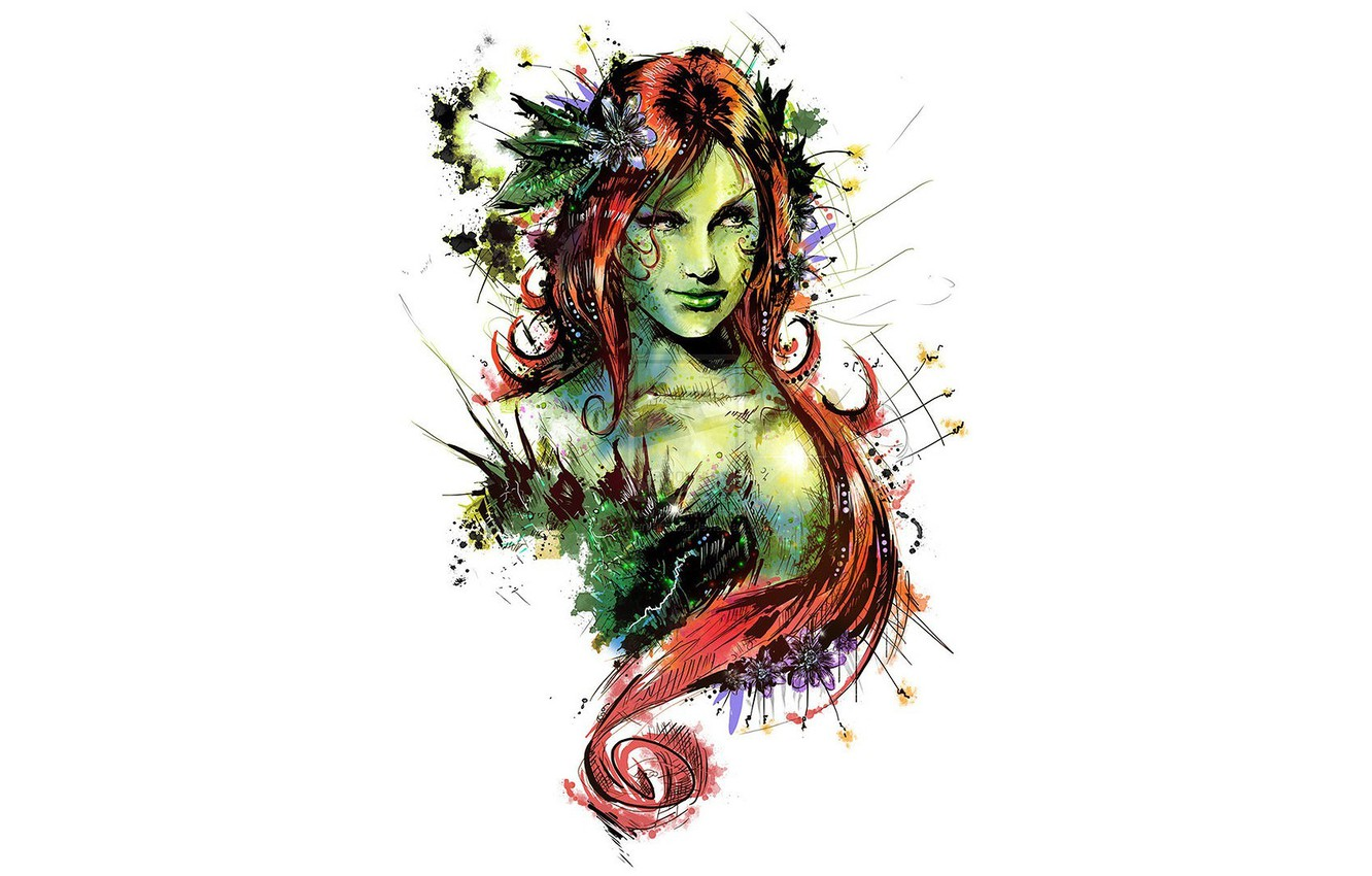 Photo wallpaper art, comics, redhead, dc universe, poison ivy