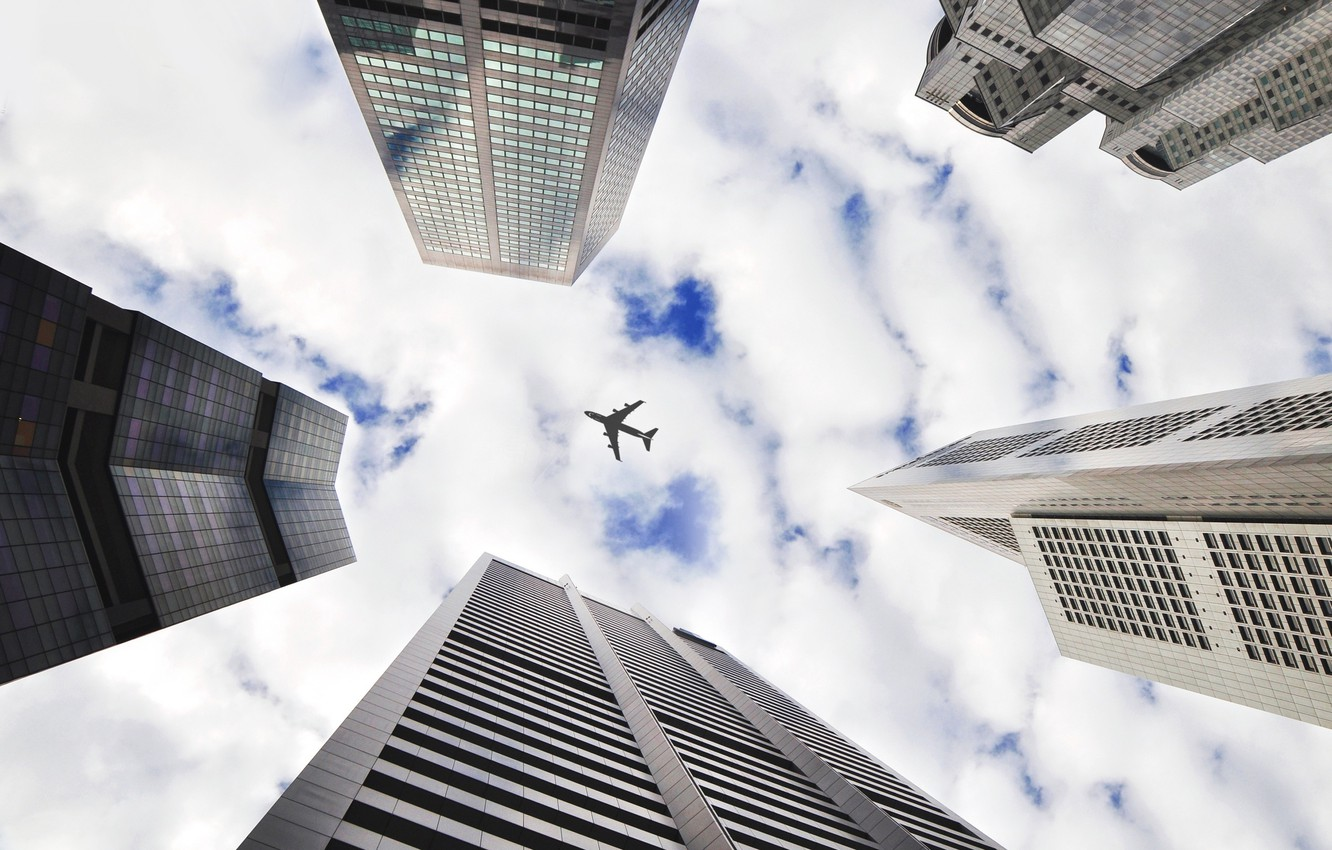 Photo wallpaper the sky, clouds, the plane, building