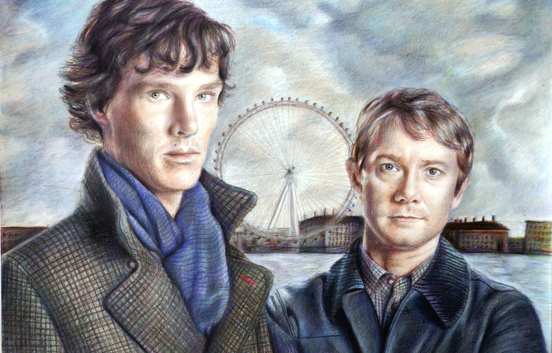 Photo wallpaper art, the series, Martin Freeman, Benedict Cumberbatch, Sherlock, bbc