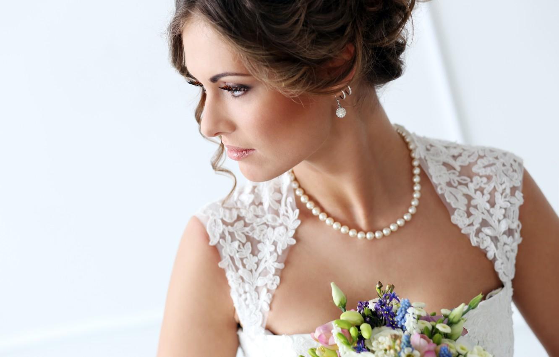 Photo wallpaper eyes, flowers, face, woman, bouquet, Girls, bride