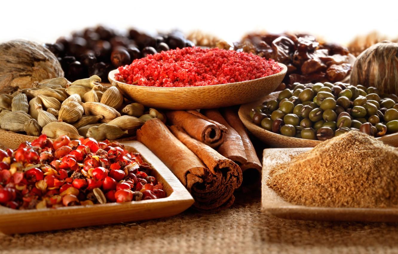 Photo wallpaper cinnamon, spices, spices, cardamom, coriander, spices, turmeric