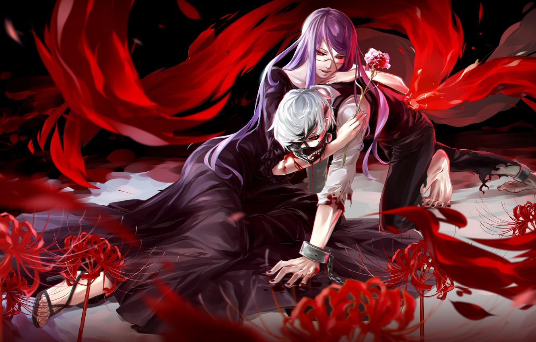 Photo wallpaper look, girl, flowers, blood, pain, guy, hugs, art, Gul, tokyo ghoul, Ken kanek, kamishiro rize, …
