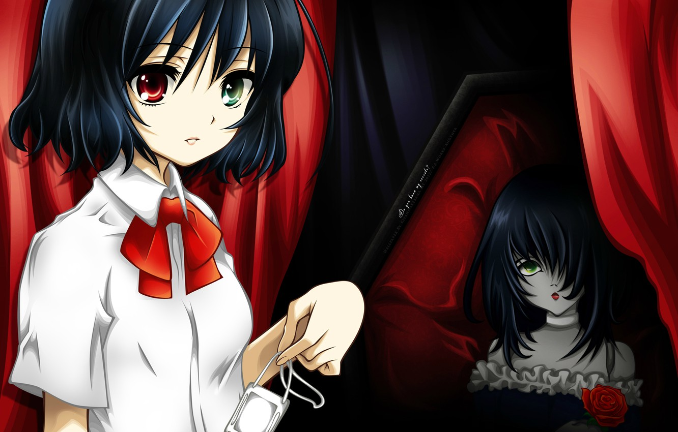 Photo wallpaper doll, curtain, the coffin, bow, different eyes, other, puppet, misaki mei, another, scarlet rose, by …