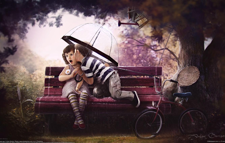 Photo wallpaper love, bench, bike, children, tree, sweet age, artem borisov