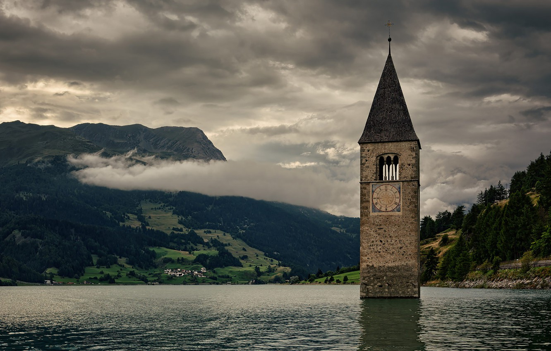 Картинки по запросу Reschensee Lake night