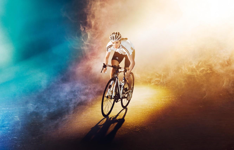 Photo wallpaper road, girl, light, bike, background, color, Olympics