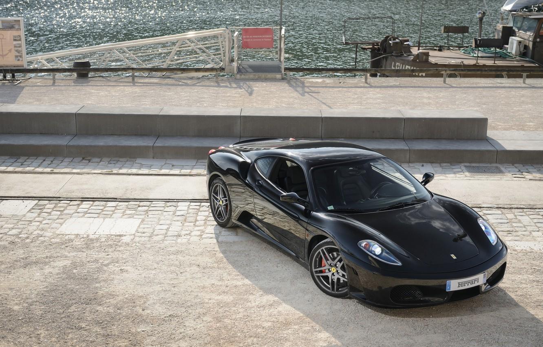 Photo wallpaper black, ferrari, Ferrari, black, promenade, f430, the view from the top, headlights, F430