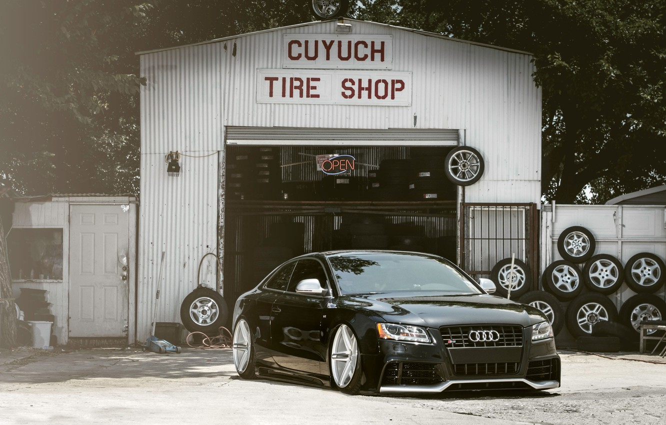 Photo wallpaper Audi, Auto, The fence, Trees, Tuning, Machine, Landing, Service, Tires