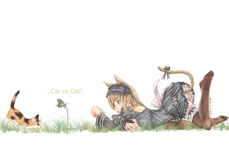 Photo wallpaper mood, butterfly, girl, kitty, neko