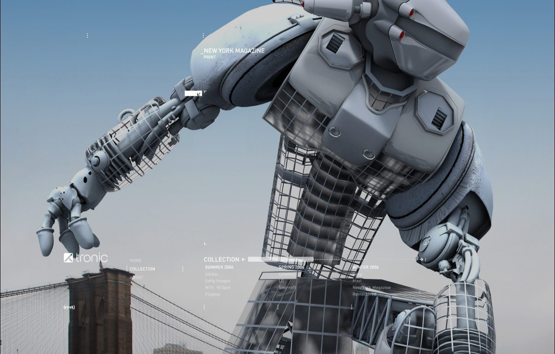 Photo wallpaper bridge, robot, The city