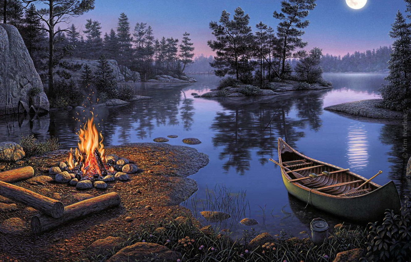 Photo wallpaper night, reflection, river, stay, the moon, romance, boat, picture, Kim Norlien, tourism, island, the fire