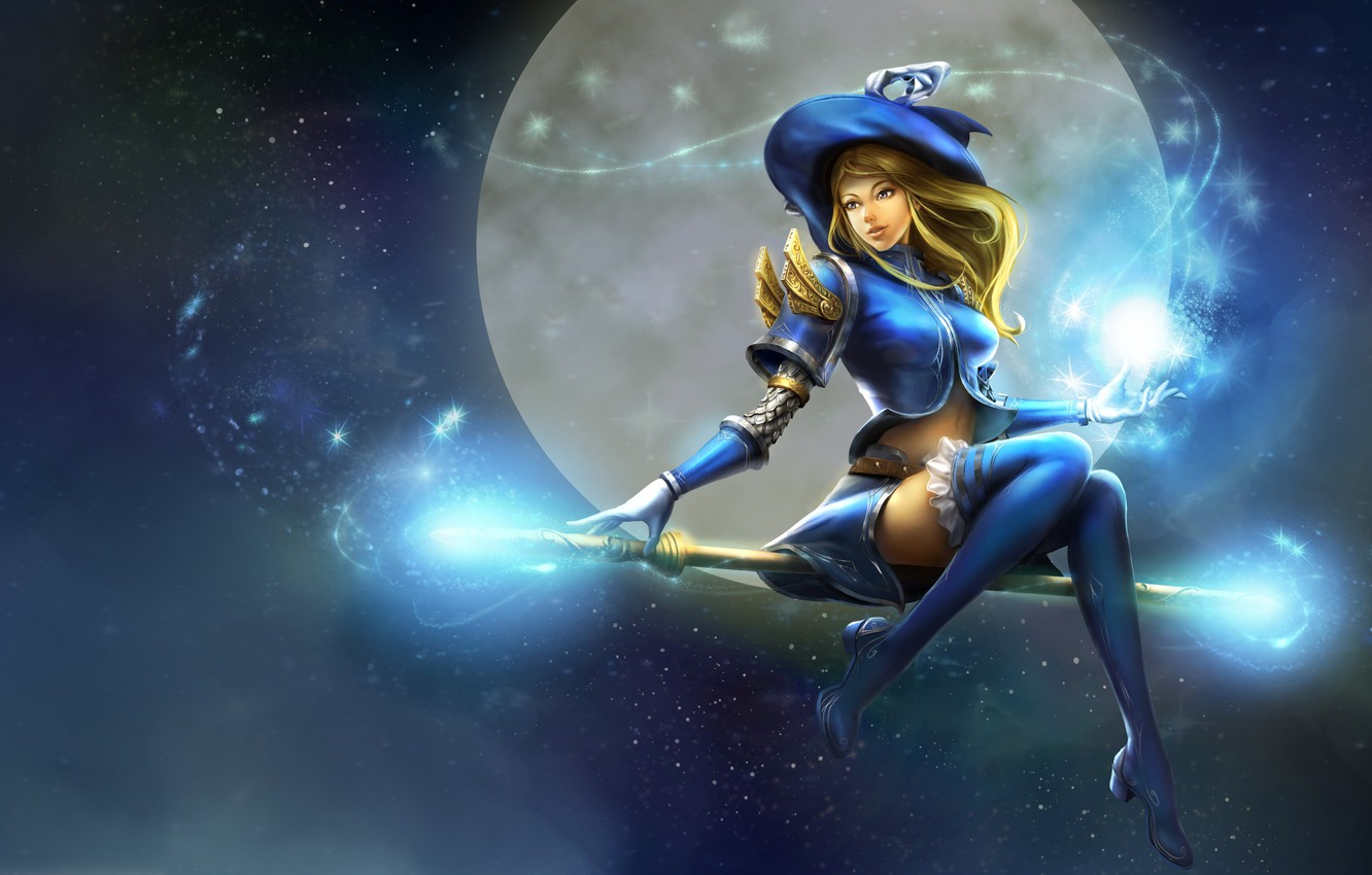 Photo wallpaper the sky, girl, flight, smile, magic, the moon, hat, anime, art, staff, witch