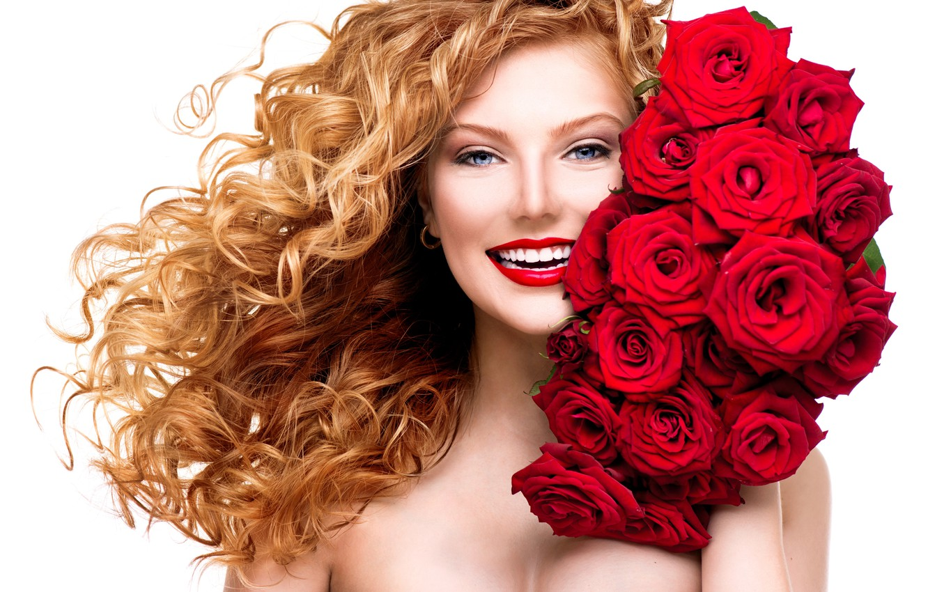 Photo wallpaper girl, smile, roses, makeup, red, curls, a bouquet of flowers, red lips