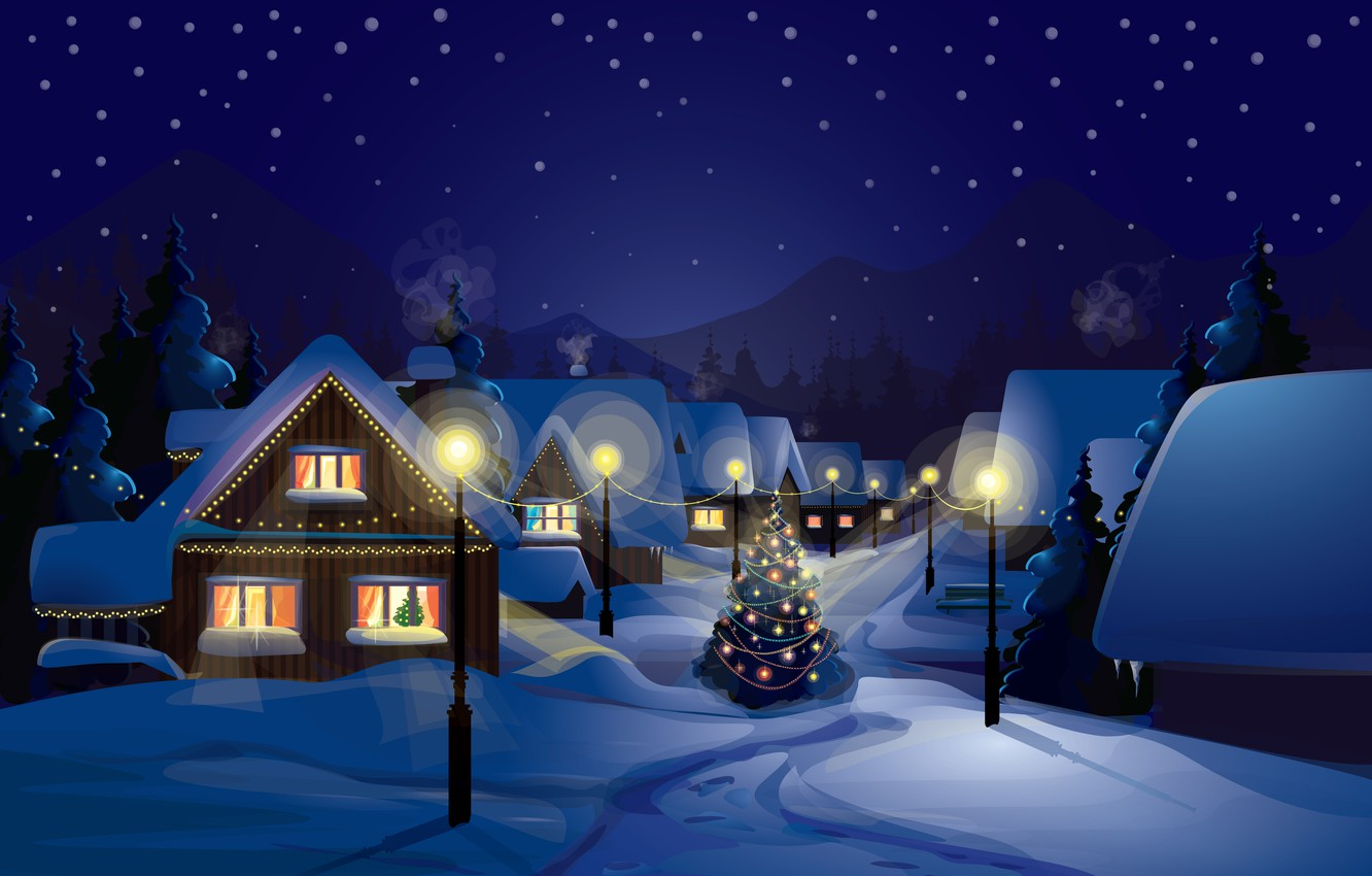 Photo wallpaper snow, decoration, city, the city, lights, lights, vector, graphics, tree, new year, home, vector, new ...