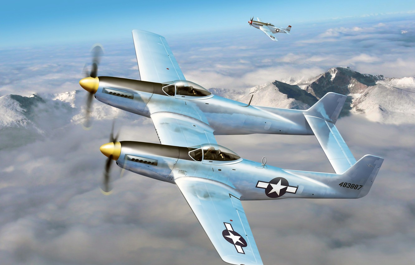 """Photo wallpaper the sky, clouds, figure, art, fighters, P-51, aircraft, WW2, American, multipurpose, F-82, """"Mustangs"""""""