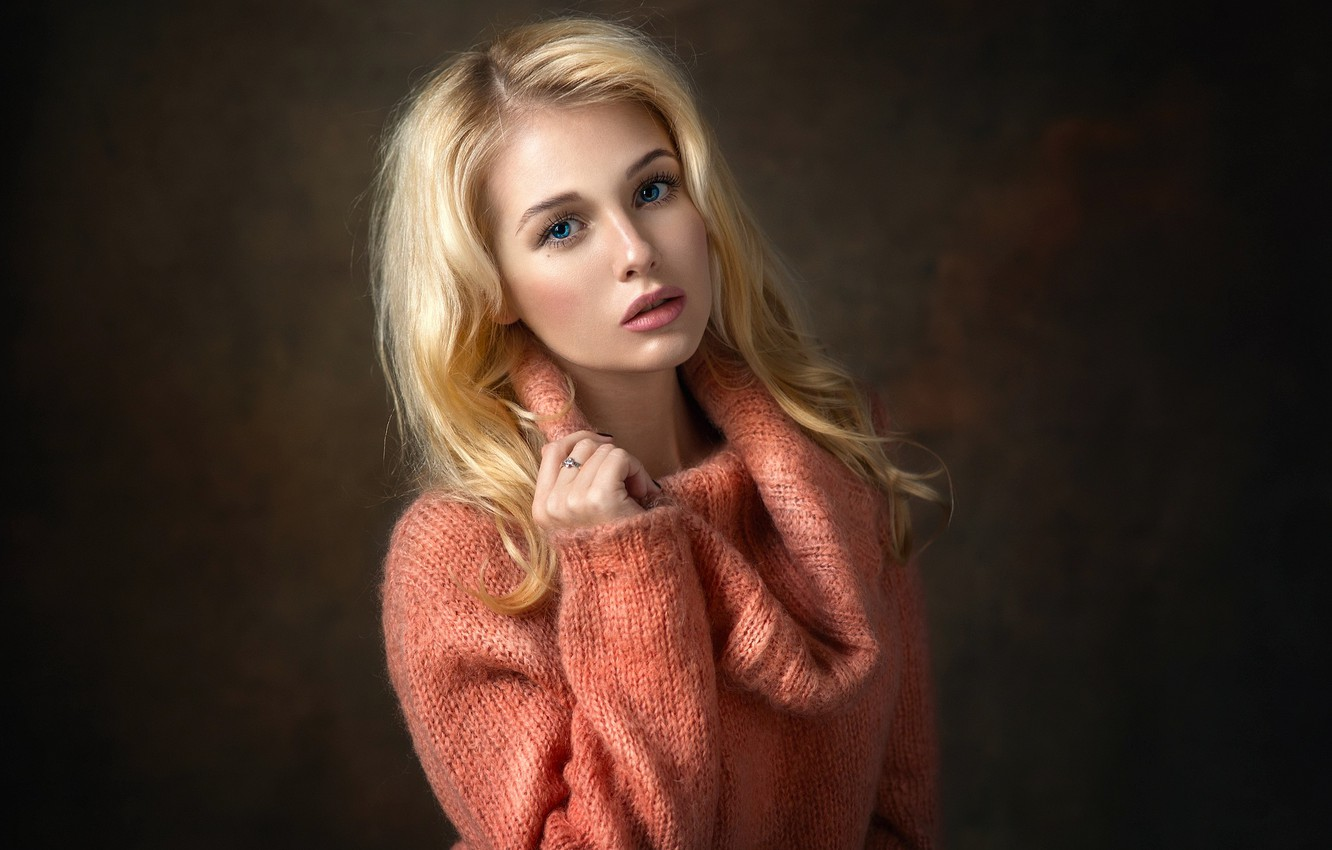 Photo wallpaper eyes, look, girl, blonde, sweater, Christina, Dennis Drozhzhin, Denis Drozhzhin