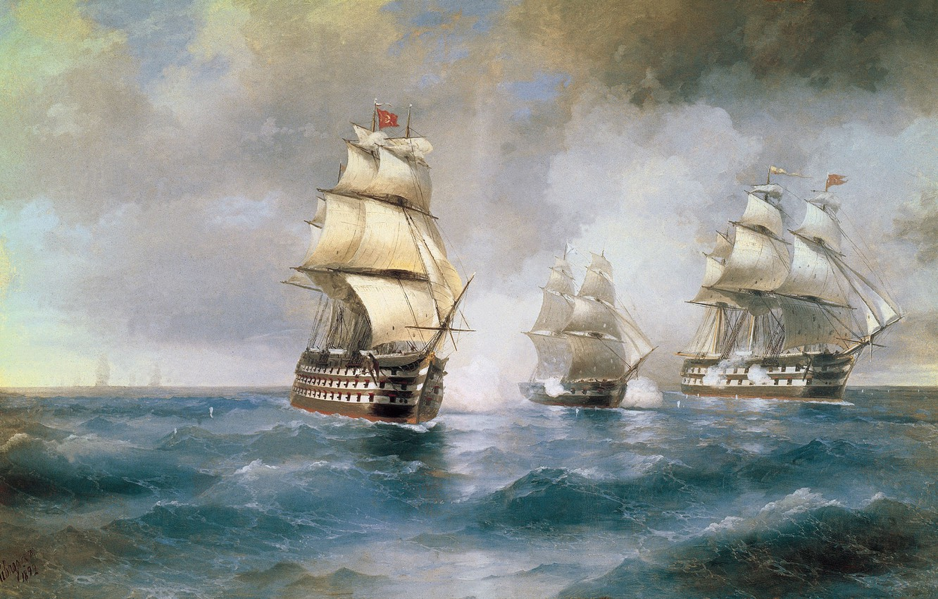 Photo wallpaper Sea, Picture, Ships, Painting, Aivazovsky