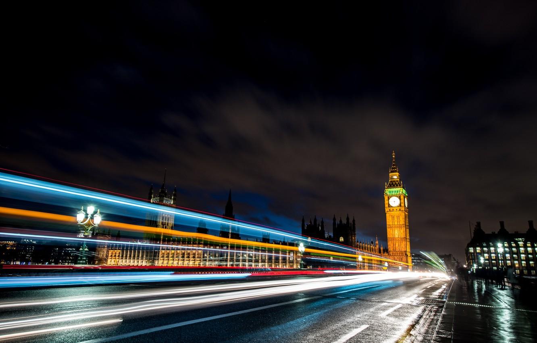 Photo wallpaper road, light, machine, night, bridge, the city, lights, people, England, London, excerpt, lights, UK, Big …
