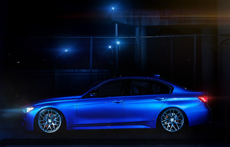 Photo wallpaper blue, bmw, BMW, the fence, profile, 335i, f30