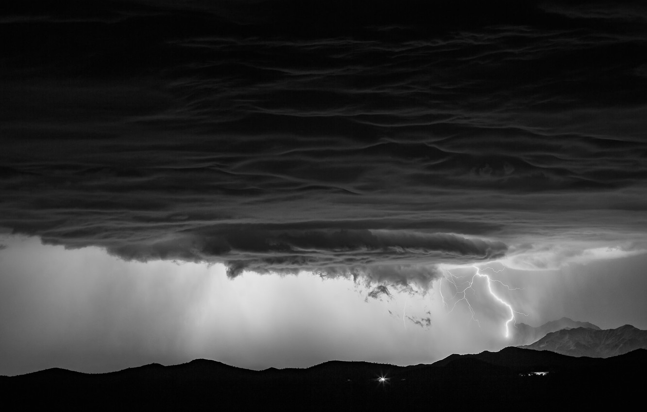 Photo wallpaper the sky, clouds, mountains, clouds, storm, nature, element, lightning, storm, black and white