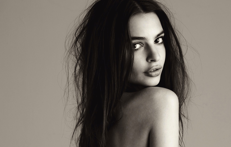 Photo wallpaper girl, long hair, eyes, beautiful, lips, look, shoulder, skin, Emily Ratajkowski