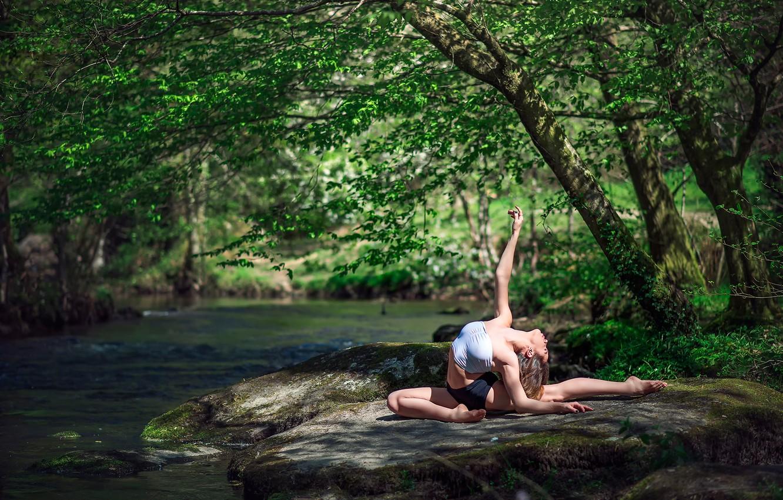 Photo wallpaper nature, river, gymnast, Marie-Lou Lagrange, grace.stone